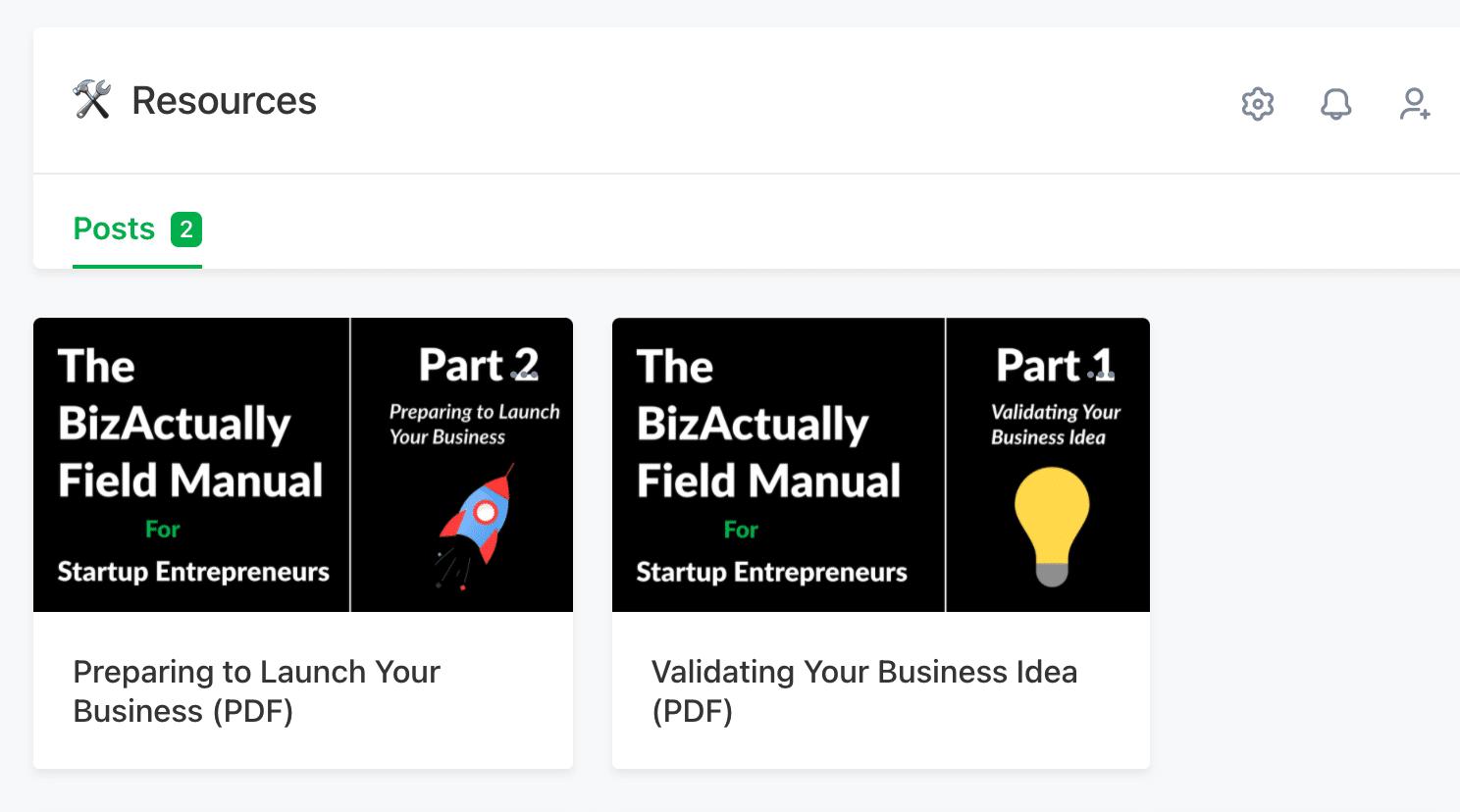 Screenshot of BizActually Community Resources Space